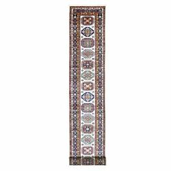 2and0399x22and039 Soft Organic Wool Ivory Super Kazak Hand Knotted Xl Runner Rug R68284