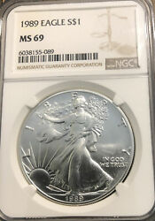 1989 Silver Eagle Ngc Ms69 Brown Label. Key Date. Low Mintage. 1oz. .999 Pure.