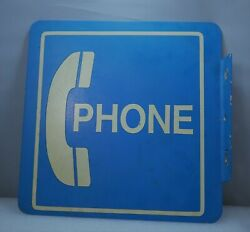 Vintage Phone Sign Blue And White -double Sided- Flanged Metal Sign -12 By 12