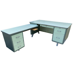 Rare Steel Mcm Executive Computer Desk And Return By Business Furniture Co. - Li