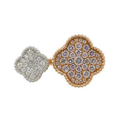 18k Two Tone 0.88ctw Diamond Double Pave Clover Ring