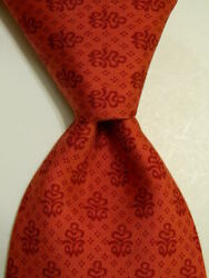 Les Olivades Menand039s 100 Silk Necktie France Designer Geometric Red Guc Very Rare