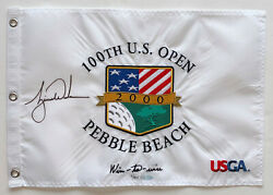 Tiger Woods Autographed 2000 Us Open Pebble Beach Pin Flag Signed Uda Upper Deck