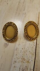 Museum Jewelry Matted Goldtone Brass Picture Frame Earrings Marked El