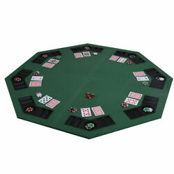 8 Player Folding Poker Table Top And Carrying Case With Cup Holder And Chip Rack