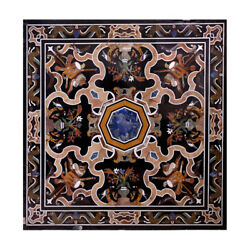 48 Inches Marble Coffee Table Top Inlay Semi Precious Stones Center Table
