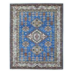 8and039x9and0399 Super Kazak Hand Knotted Natural Wool Light Blue Oriental Rug R68057