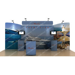 20ft Fabric Trade Show Display Booth Set Backdop Wall Pop Up Stand Light Counter