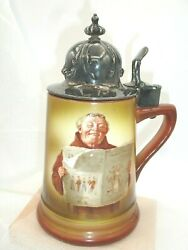 Vintage Beer Stein, English Monk, Silver Plated Lid, Porcelain Body 7.5 Inches
