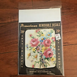 Vintage REMOVABLE DECALS Floral Rose Flower Bouquet 1950s AMERICAN Decalcomania