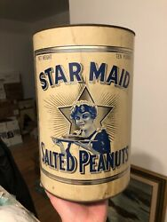 Vintage Minty C.1920 10lb Star Maid Salted Peanuts Country Store Bulk Tin
