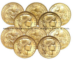 Lot Of 10 Bu Gold 20 Franc Roosters French Bullion Coins Pre-1933 Brilliant Unc