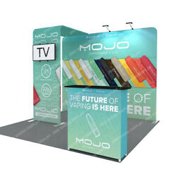 10ft Tension Fabric Trade Show Display Booth Set Back Wall Tv Bracket Podium