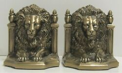 Pair Of Vintage Metal Bronze Lions Head Bookends Md 419 B