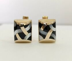 Asch Grossbardt 14k Yellow Gold Onyx And Mother Of Pearl Inlay Cuff Links