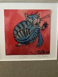 Signed Original Framed Abstract Painting Cat Modern on Canvas Michelle Sutton