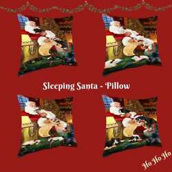 Christmas Santa Sleeping With Gifts Dogs Cats Photo Throw Decorative Pillow