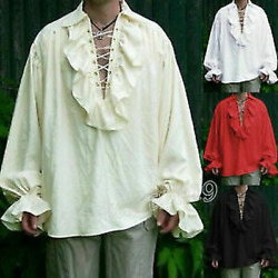 Mens T Shirt Gothic Victorian Punk Rave Steampunk Open Laced Chest Top Clothing