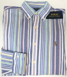 Polo Shirt Long Sleeve Classic Blue Red Green Stripe Oxford 98 New