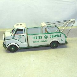Vintage Marx Cities Service Towing Truck, Pressed Steel, Battery Operated