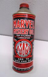 Vintage 1/2 Full Marvel Mystery Oil 16 Oz. Cone Top Can