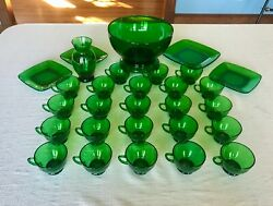 Anchor Hocking Forest Green 30 Pieces Punch Bowl, Base, 23 Cups, 4 Plates, Vase