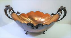 Vintage Copper Bowl W/ Winged Dragon Handles Hammered Surface 4 Footed 13 Long