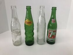 4 Vintage Soft Drink Glass Bottles 7up Tab Woosies And Squirt White/green