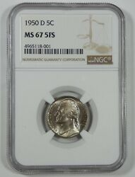 1950-d Jefferson Nickel Certified Ngc Ms 67 5-full Steps 5-cents