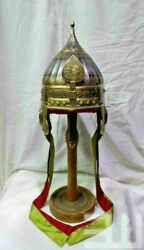 Early Medieval Etched Ottoman Migfer 16ga Steel Helmet Based On Islamic History