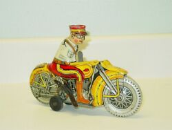 Vintage Tin Litho 1930s Marx Police Siren Motorcycle, Wind Up Toy, Works
