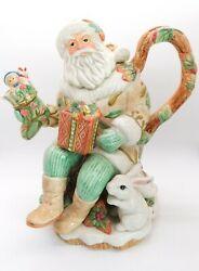 Fitz And Floyd Classics Winter Holiday Teapot W/lid 2004 - 2006 Retired 10 1/2