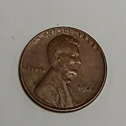 1941 Penny No Mint Proof Mark Wheat Penny Lincoln Old Vintage Collectors Clean