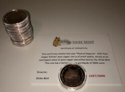 2021 Dogecoin, Shibe Mint Copper Edition, With Coa, 5000 Made, Limited Edition