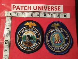 Lot Of Two Diff Penobscot Maine Indian Police Shoulder Patches A018