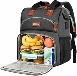 Lunch Backpack for Women Insulated Cooler Compartment Food Bags Men Work Gray $49.92