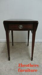 Ethan Allen Newport Flame Mahogany Banded Butterfly Drop Leaf Lamp End Table A
