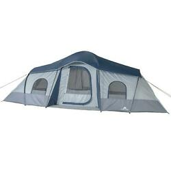 10 Person 3 Room Cabin Tent With 2 Side Entrances Fits 3 Queen Air Mattresses