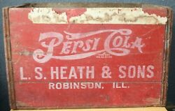 1935-1946 Pepsi Cola Wood Bottle Crate L.s. Heath And Sons Robinson Ill Candy Bar