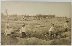 Rppc Wwi Soldiers Practicing Digging Trenches Plattsburgh Ny C1916 Postcard