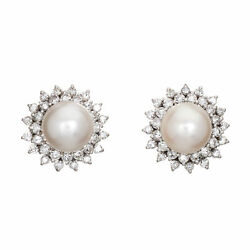 9mm Cultured South Sea Pearl Earrings 0.94ct Diamond Vintage 14k Gold Round Stud