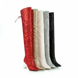 Sequin Glitter Women Over Knee High Thigh Boots Pointy Toe High Heel Party Pumps