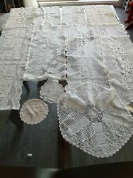 Lot 29 Vintage Handmade Crochet Doilies Tablecloths Lace Table Runners