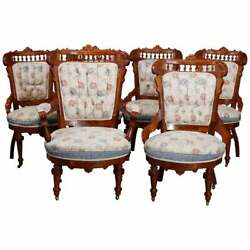 Six Antique Eastlake Spindled Walnut And Burl Upholstered Parlor Chairs, C1890