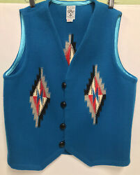 Ortegaandrsquos 100 All Wool Vest Chimayo N.m. Size L Turquoise Red And Black