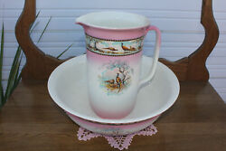 Antique Old Large Pitcher And Basin Pheasant Rooster Hen And Family Lovely Borders
