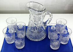 Abp Antique American Brilliant Cut Glass 10 Water Pitcher W 8 Matching Tumblers