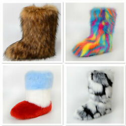 Faux Fur Boots For Women Fuzzy Fluffy Furry Round Toe Winter Snow Boots Size 8