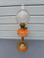 Oil Lamp Antique Pink Font Etched Globe Shade Ceramic Base And Stem Cleaned Ol46