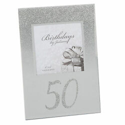 Silver Glitter amp; Mirror 4#x27;x4#x27; Photo Frame with Number 50th Birthday